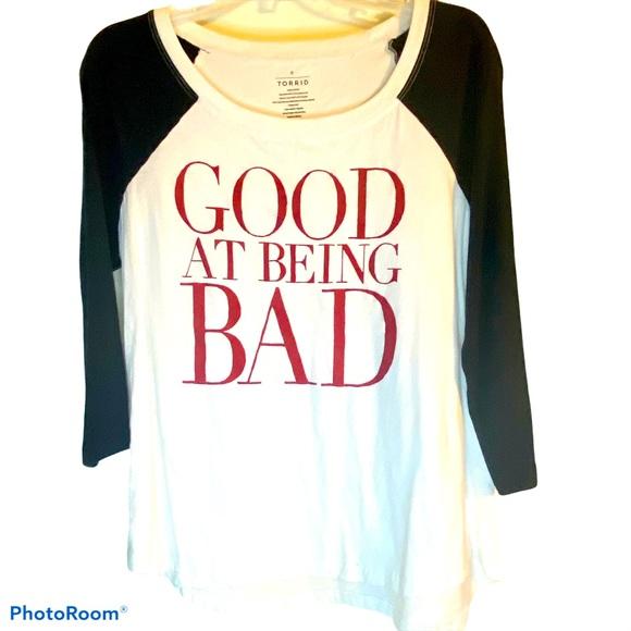 Torrid Good At Being Bad baseball tee shirt 0 L